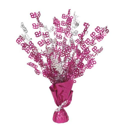 Pink Glitz 65th Balloon Weight Centrepiece