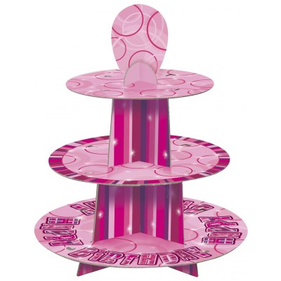 Pink Glitz Happy Birthday Cupcake Stand with Personalised Age Stickers