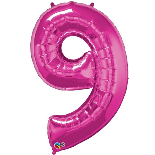 """Qualatex Pink '9' Giant 34"""" Number Foil Balloon"""