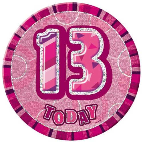 Birthday Pink Glitz Age 13th Happy Birthday Large Badge