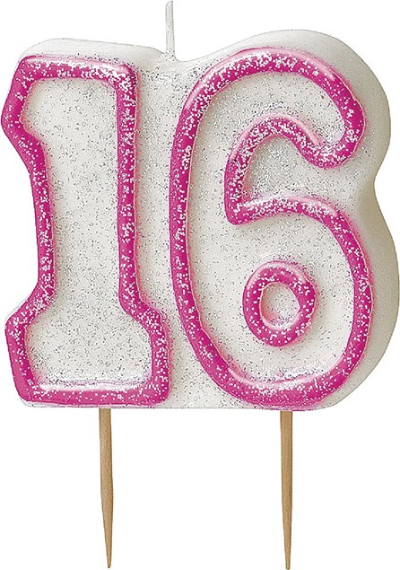 Pink Glitz Theme Number Candle – Number 16
