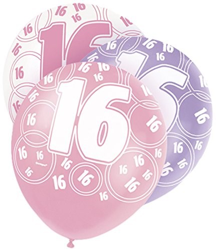 Pink Glitz 16th Birthday Latex Balloons  – Pack of 6 – Assorted Colours