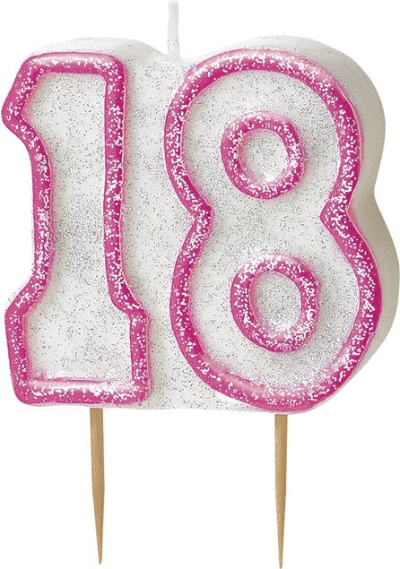 Pink Glitz Theme Number Candle – Number 18