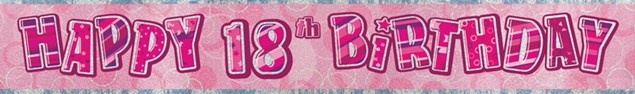 Birthday Pink Glitz 18th Birthday Banner