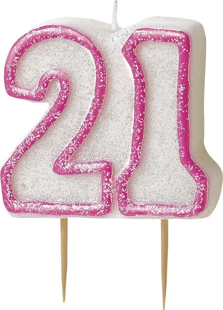 Pink Glitz Theme Number Candle – Number 21