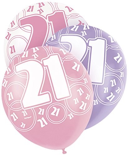Pink Glitz 21st Birthday Latex Balloons  – Pack of 6 – Assorted Colours