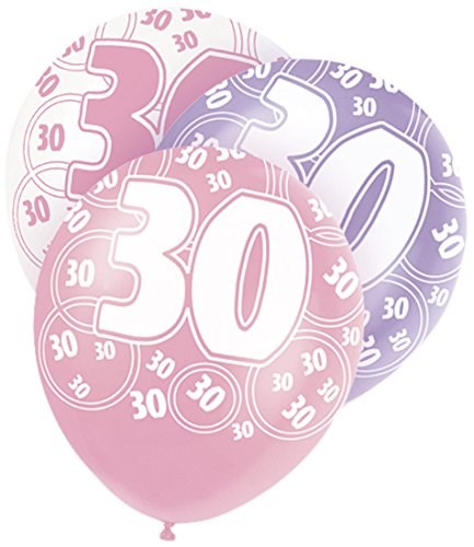 Pink Glitz 30th Birthday Latex Balloons  – Pack of 6 – Assorted Colours