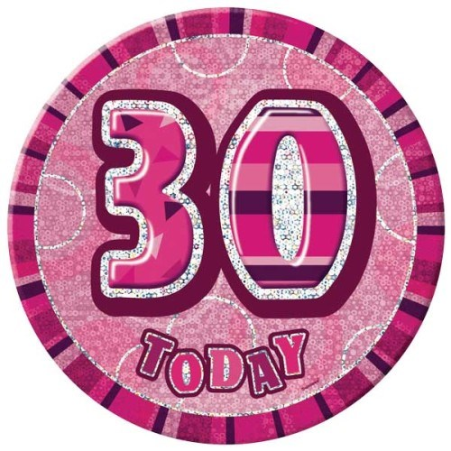 Birthday Pink Glitz Age 30 Happy Birthday Large Badge
