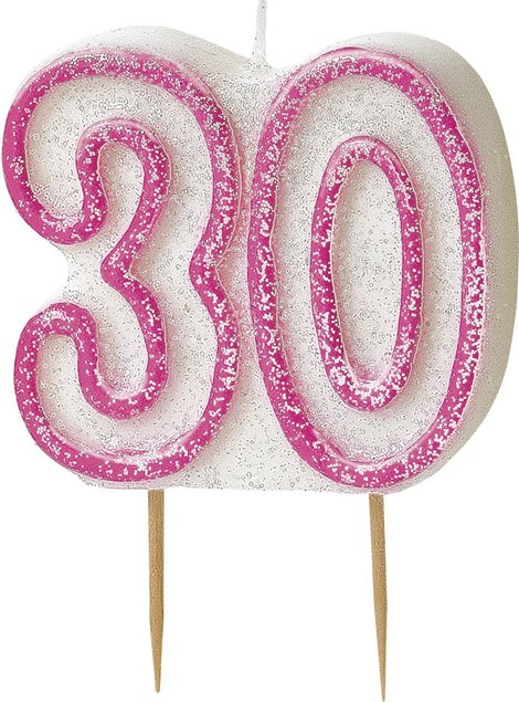 Pink Glitz Theme Number Candle – Number 30