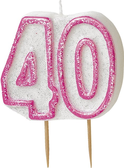 Pink Glitz Theme Number Candle – Number 40