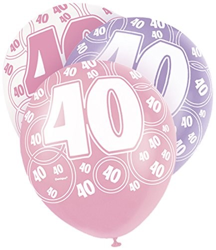 Pink Glitz 40th Birthday Latex Balloons  – Pack of 6 – Assorted Colours