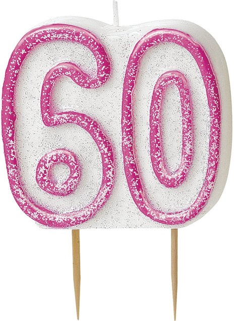 Pink Glitz Theme Number Candle – Number 60