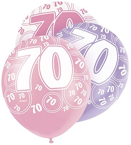 Pink Glitz 70th Birthday Latex Balloons  – Pack of 6 – Assorted Colours