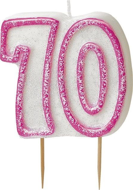 Pink Glitz Theme Number Candle – Number 70