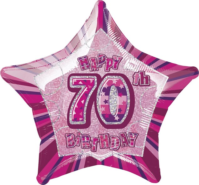 Birthday Pink Glitz 70th Birthday Star Shape Foil Balloon