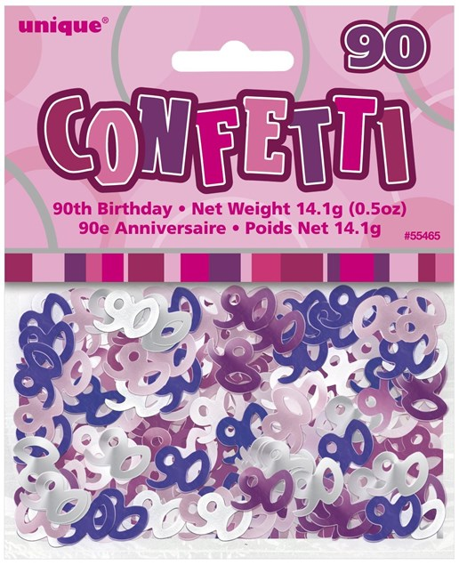 Birthday Pink Glitz 90th Table Confetti