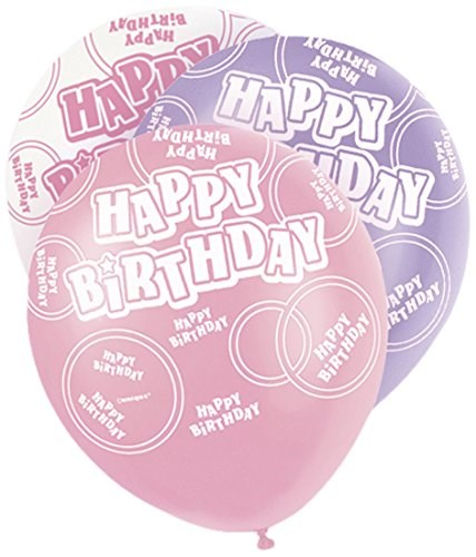 Pink All Ages Happy Birthday Latex Balloons  – Pack of 6 – Assorted Colours