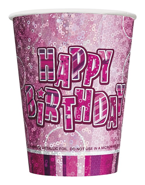 Pink Glitz Happy Birthday Paper Cups - Pack of 24