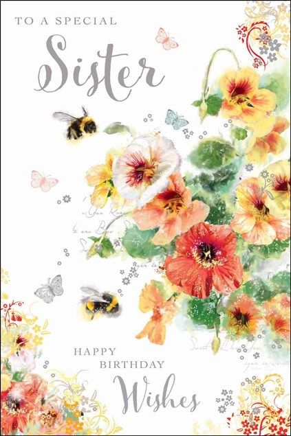 Jonny Javelin Birthday Sister Card - Bees & Flowers