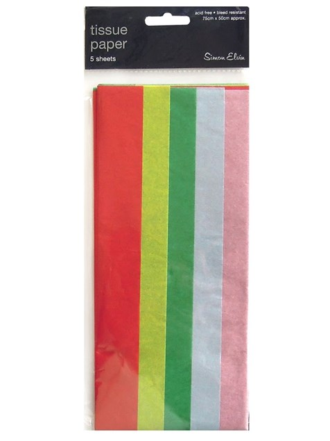 Tissue Paper Multicoloured - Pack Of 5 Sheets