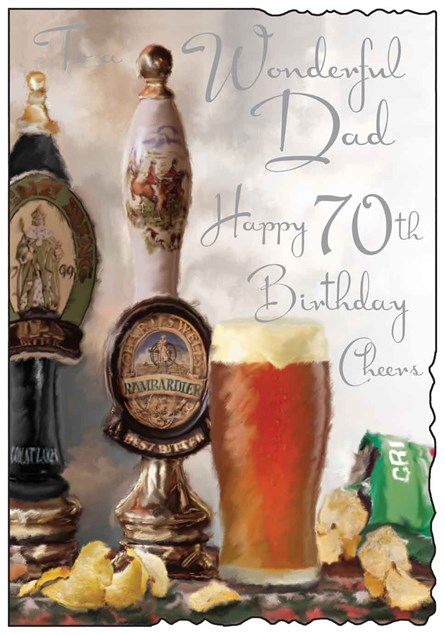 Jonny Javelin Birthday Dad 70th Card - Pint