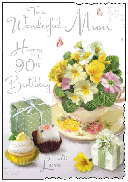 Jonny Javelin Birthday Mum 90th Card - Cakes And Primroses