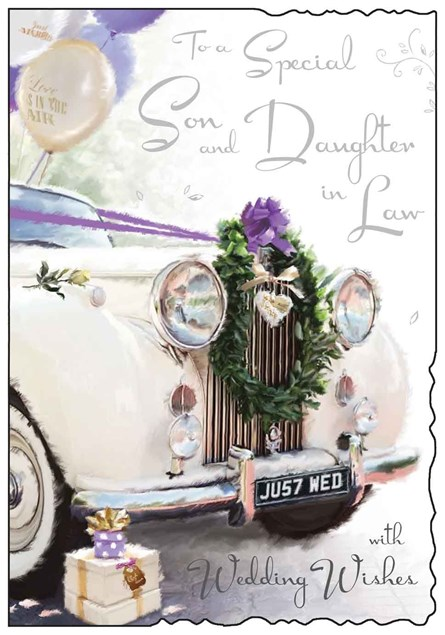 Wedding Day Son & Daughter in Law Jonny Javelin Card - Wedding Car