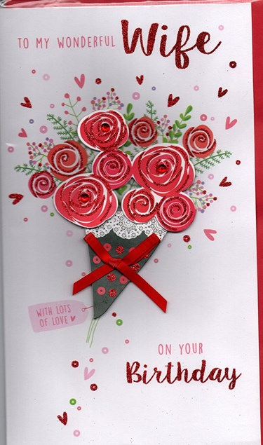 Birthday Wife 3-D Large Card - Flower Heart and Butterflies Design