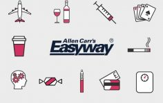 Allen Carr logo and addictions Rectangle GREY