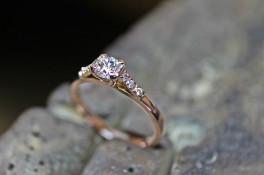 SERENE DIAMOND ROSE GOLD RING MICRO SET SHOULDERS
