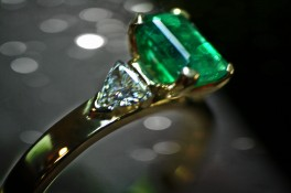 Emerald & Trillion Cut Diamond
