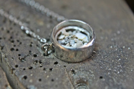 Opal platinum ashes memorial pendant