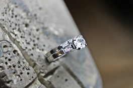platinum diamond baguette ring & platinum band