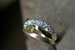 18ct Rose, Yellow and White gold diamond ring