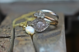 Multi stone rub over diamond & Opal white gold ring