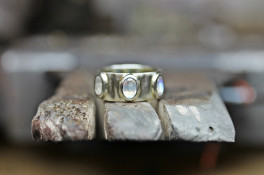 white gold & moonstone ring platinum textured & burred band