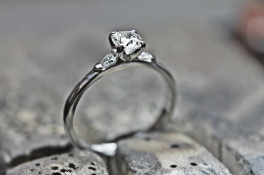 Old cut cushion shape diamond ring & pear shape shoulders