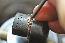 rose gold salt & pepper diamond fitted wedding ring