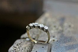 5 STONE DIAMOND PLATINUM RING USING OLD STONES