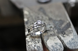 fitted wedding ring & hammered tarnished finish band