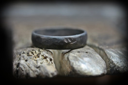 Palladium wedding ring blackened with a rough finish