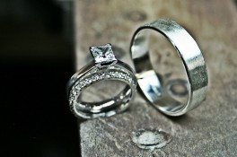 Micro Set Diamond Wedding Band & Silver Brushed Band