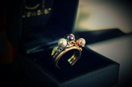 18ct Yellow, Rose & White Gold Diamond & Pearl Rings