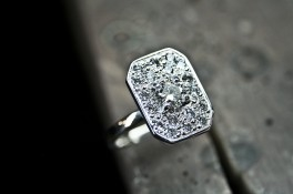 Art Deco Style Pave Diamond Set 18ct White Gold Ring