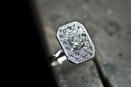Art Deco Style Pave Diamond Set 18ct White Gold Ring