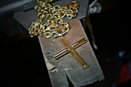 Gold Cross With Cremated Ashes Encapsulated