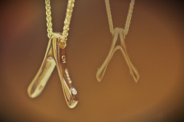 Gold & Diamond Wishbone Pendant
