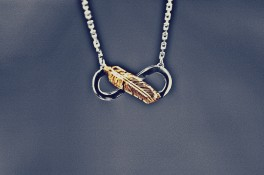18ct White & Yellow Gold Infinity & Feather Pendant