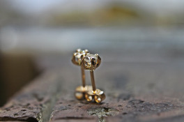 9ct Rose gold Diamond Four Claw Stud Earrings