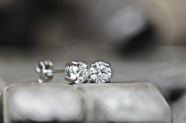 Four Claw Platinum Diamond Stud Earrings